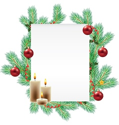 Empty list decorated with christmas branches vector