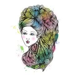 girl with curly hair vector image