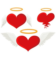 Heart with angel wings vector image vector image