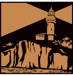 lighthouse on a cliff vector image