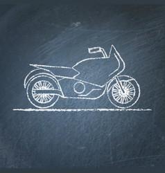 motorcycle sketch on chalkboard vector image