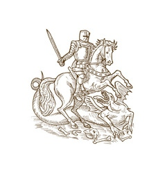Saint George knight and the dragon vector image vector image