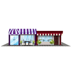 two shops in purple and red vector image