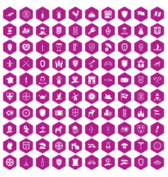 100 shield icons hexagon violet vector