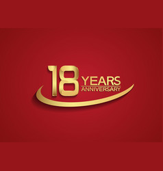 18 years anniversary logo style with swoosh vector