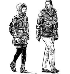 a couple casual urban pedestrians vector image