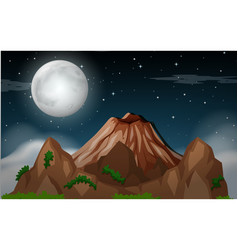 a mountain night scene vector image