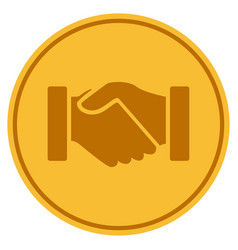 Acquisition handshake gold coin vector