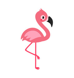 adorable flamingo in flat style vector image