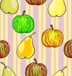 Apples Pears Fruits Pattern vector image