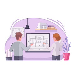 Architect work cartoon composition vector