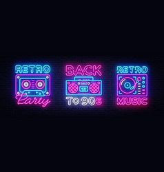 Back to 90s neon poster collection card vector