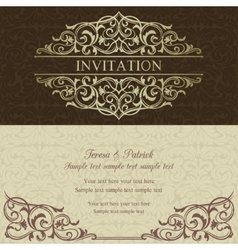 Baroque invitation brown and beige vector