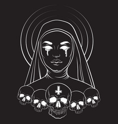 Blind nun with human skull blood and cross made vector