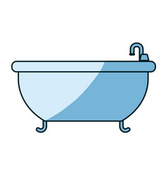 blue shading silhouette of bathtub icon vector image