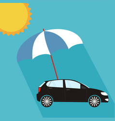 Blue umbrella protecting car against sun flat vector