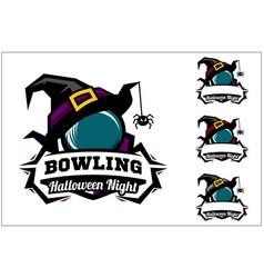 bowling ball halloween logo vector image