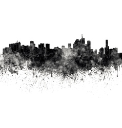 Brisbane skyline in black watercolor on white vector