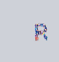 Business people crowd forming shape letter r vector