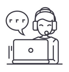 call centerwoman with headset working on laptop vector image