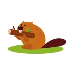 Cartoon Beaver with a Wood in vector