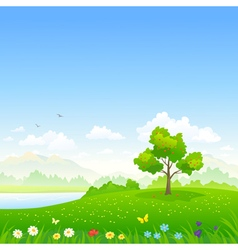 Cartoon summer landscape vector image