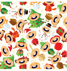 Christmas seamless pattern with cute cartoon child vector