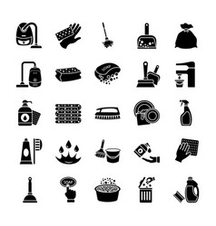 Cleaning and maid icons set vector