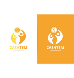 coin and people logo combination money and vector image