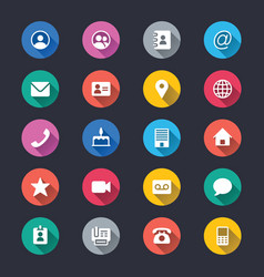 Contact simple color icons vector
