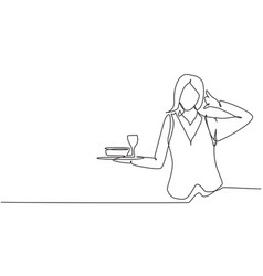 Continuous one line drawing waitress with call me vector