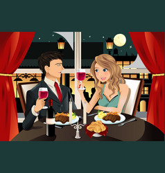 couple in restaurant vector image