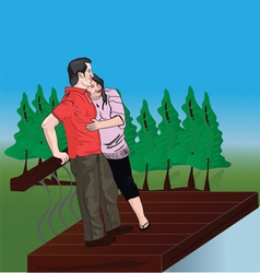 Couples on bridge vector image