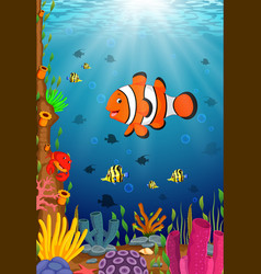cute clown fish cartoon in the sea vector image