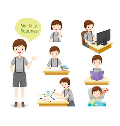 daily routines of boy vector image