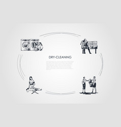 dry-cleaning - ironing chemical cleaning vector image