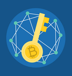 Encryption key cryptocurrency icon flat design vector