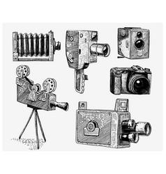 Evolution of the photo video film movie camera vector