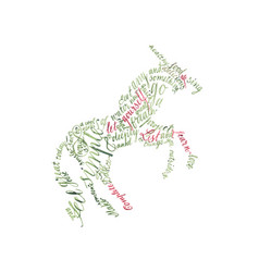 figurative colorfull calligraphy unicorn vector image