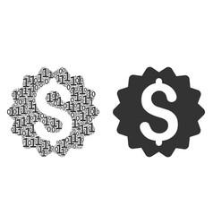 Financial reward seal mosaic of binary digits vector