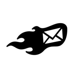 Flame envelope icon vector