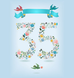 floral number thirty five with ribbon and birds vector image