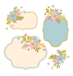 Flower frames hand drawn modern isolated template vector