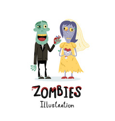 funny married zombie couple character vector image