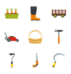 garden icon set flat style vector image