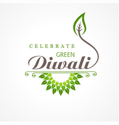 Greeting for celebrate green diwali concept vector