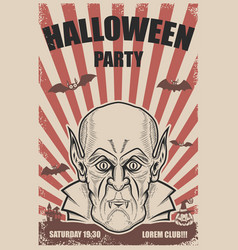 Halloween party poster template vampire headtrick vector