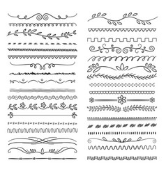 hand drawn lines floral scribble ornamental web vector image