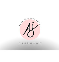Handwritten letters aj a j logo with rounded vector