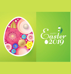 happy easter card template with egg desorated vector image